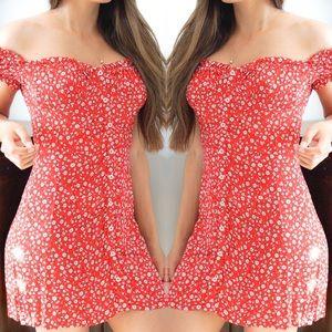 Red Flower Print Shoulder Dress